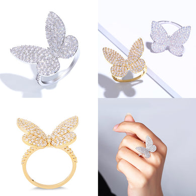 Zircon Silver Butterfly Ring - TAIGS000