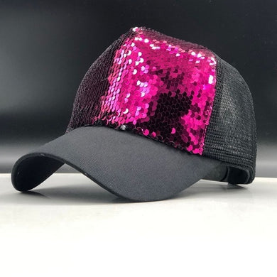 Adjustable Sequins Mesh Snapback