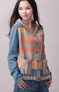 Knitted Hooded Cardigan - TAIGS000