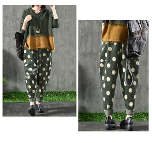 Dot Print Casual Corduroy Pants - TAIGS000