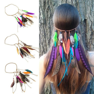 Multi color Feather headband - TAIGS000