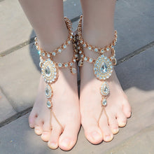 Load image into Gallery viewer, Rhinestone Wedding Toe Ring Anklets - TAIGS000