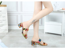 Load image into Gallery viewer, Square heel crystal slippers - TAIGS000