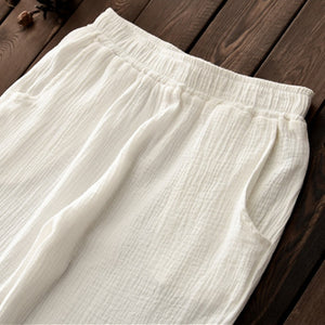 Elastic Waist Linen Capris With Pockets - TAIGS000
