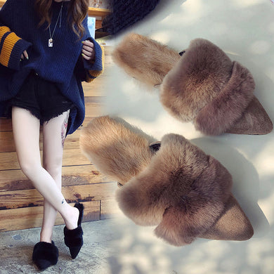 Pointed Baotou wool slippers - TAIGS000