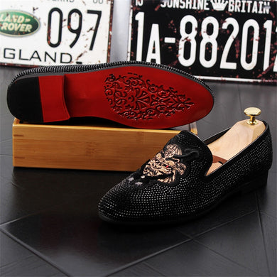Handmade Black Rhinestone Shoes for Men - TAIGS000