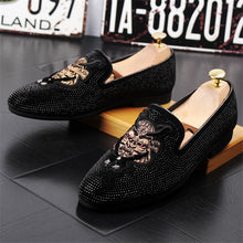 Load image into Gallery viewer, Handmade Black Rhinestone Shoes for Men - TAIGS000