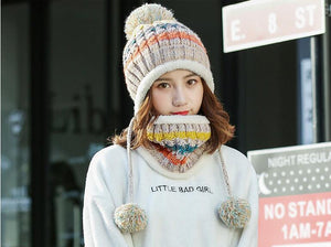 Winter Women Knitted Hat Scarf 2Pcs Set - TAIGS000