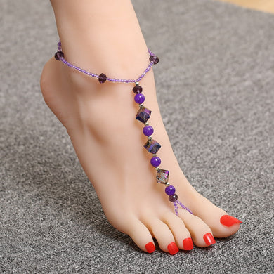 Purple Glass Crystal Beads Anklet - TAIGS000