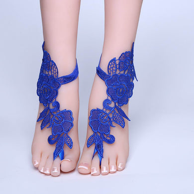 Blue Lace Barefoot Sandals - TAIGS000