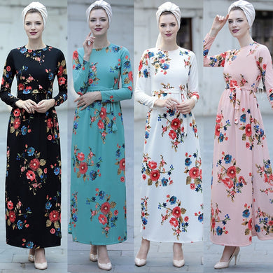 Elegant Print Floral Maxi Dress - TAIGS000