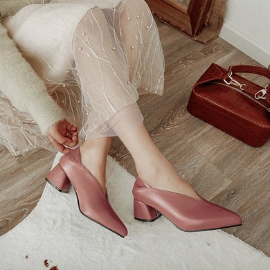 Square Heel Pointed Toe Pumps - TAIGS000