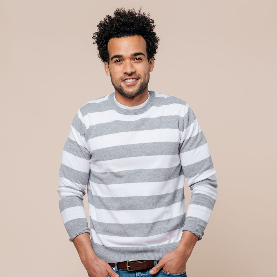 Earn Your Stripes Crewneck Sweater - Grey/White