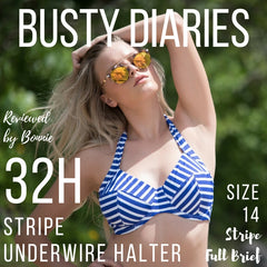 Busty Diaries stripe underwire halter review