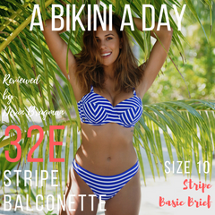 Devin Brugman from A Bikini A Day reviews our stripe balconette bikini top and basic brief bikini bottoms