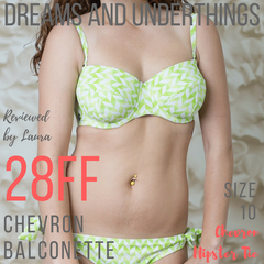 Dreams and Underthings reviews Lilly & Lime chevron balconette bikini top and hipster tie bikini bottoms