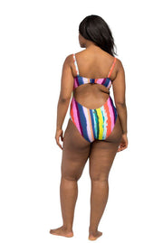 Rainbow Stripe Balconette One Piece