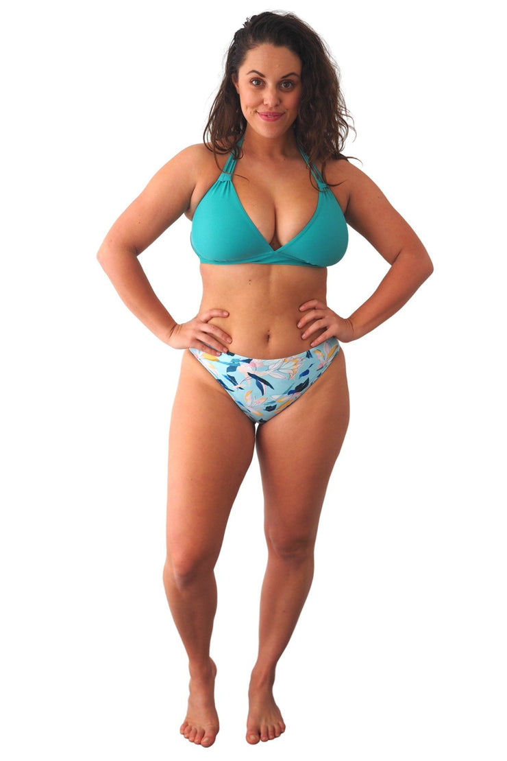 Fleurs Aqua High Leg High Waisted cheeky blue floral bikini bottoms