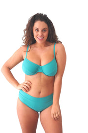 Teal Full Cup bikini top and full brief bikini bottoms