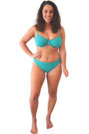 Teal blue green halter tri bikini top and basic brief