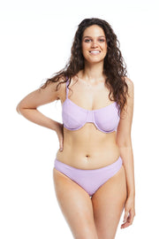 Lavender Full Cup and Basic Brief bikini bottoms