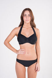 Lilly & Lime black underwire halter bikini top and black basic brief bikini bottoms