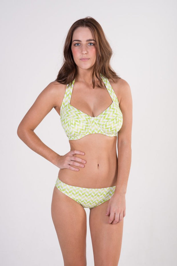 Lilly & Lime chevron green and white underwire halter bikini top and basic brief bikini bottoms
