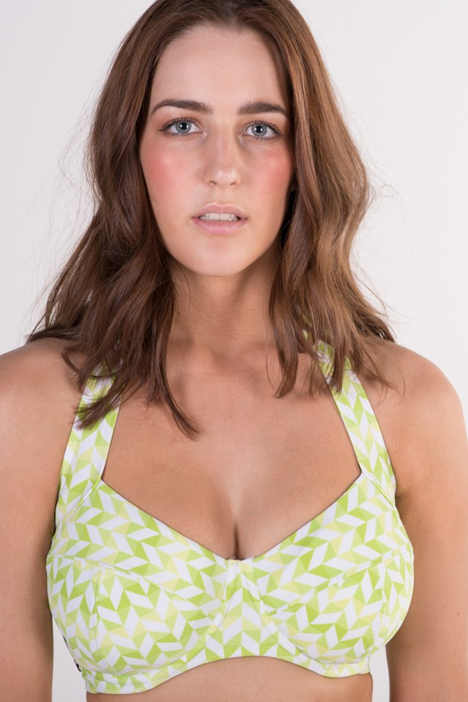 Lilly & Lime chevron green and white underwire halter bikini top