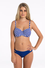 Blue & White Striped Balconette Bikini Top