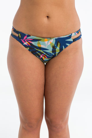 Azure Palm Cut Out Brief Bikini Bottoms