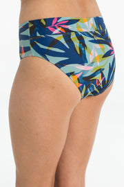 Azure Palm blue floral full brief bikini bottoms