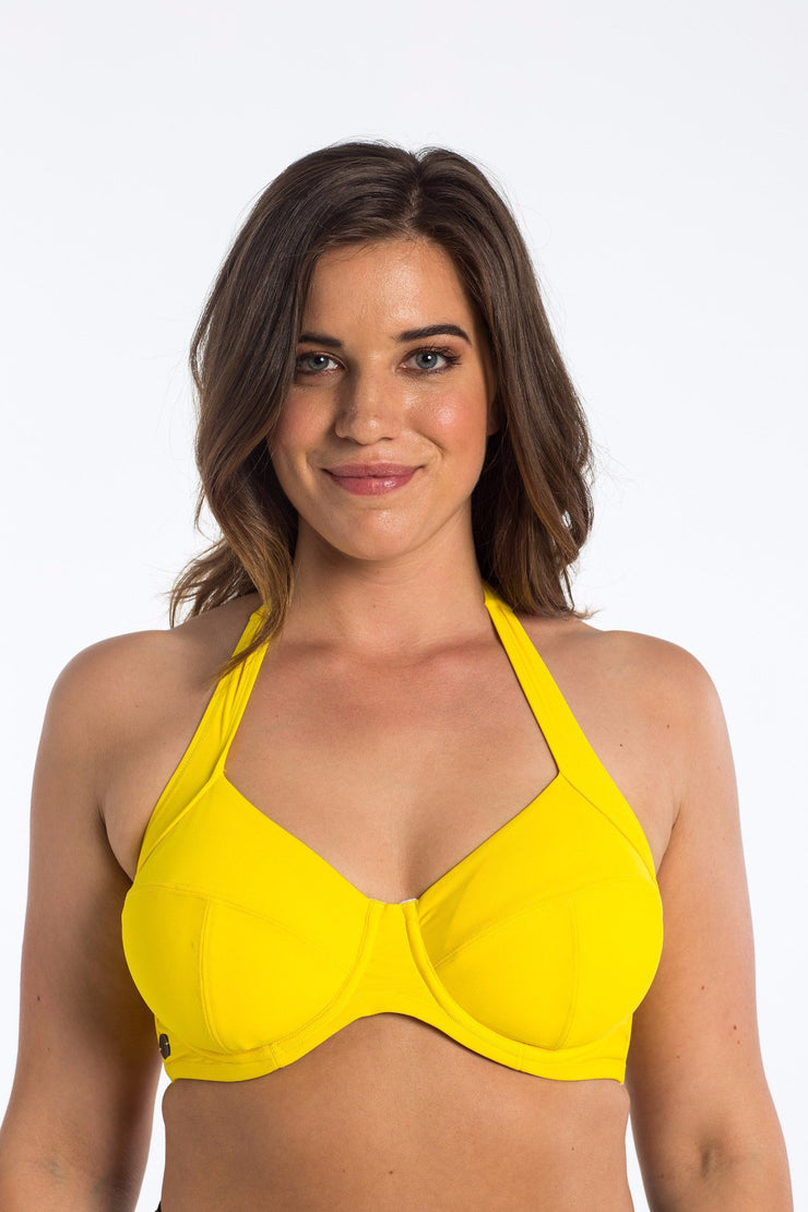 Sunshine yellow Underwire Halter bikini top