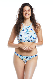 Fleurs Aqua Hipster Brief Bikini Bottoms