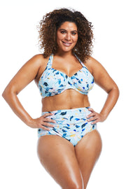 Fleurs Aqua Underwire Halter and High Waisted Brief