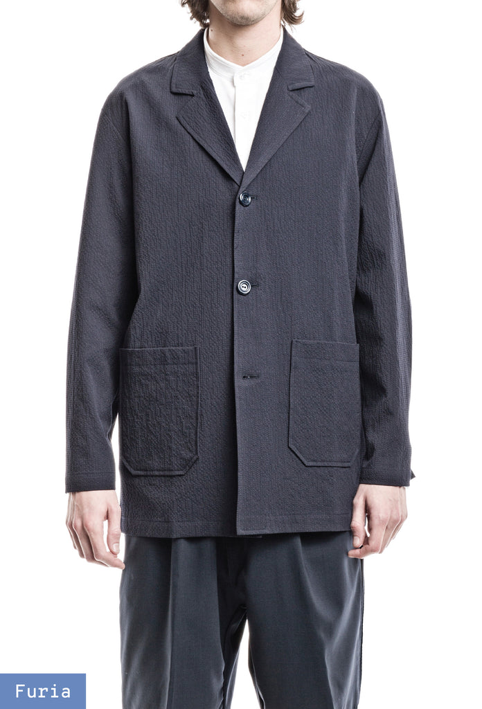 Wide Jacket - Seersucker Navy