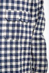 Wide Fire Shirt - Seersucker Check Blue / White