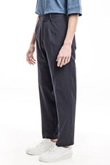 Wide Trousers - Seersucker Navy