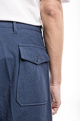 Wide Shorts - Seersucker Blue