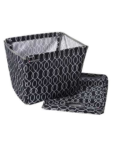 Black Ogee Market Basket with folded bag