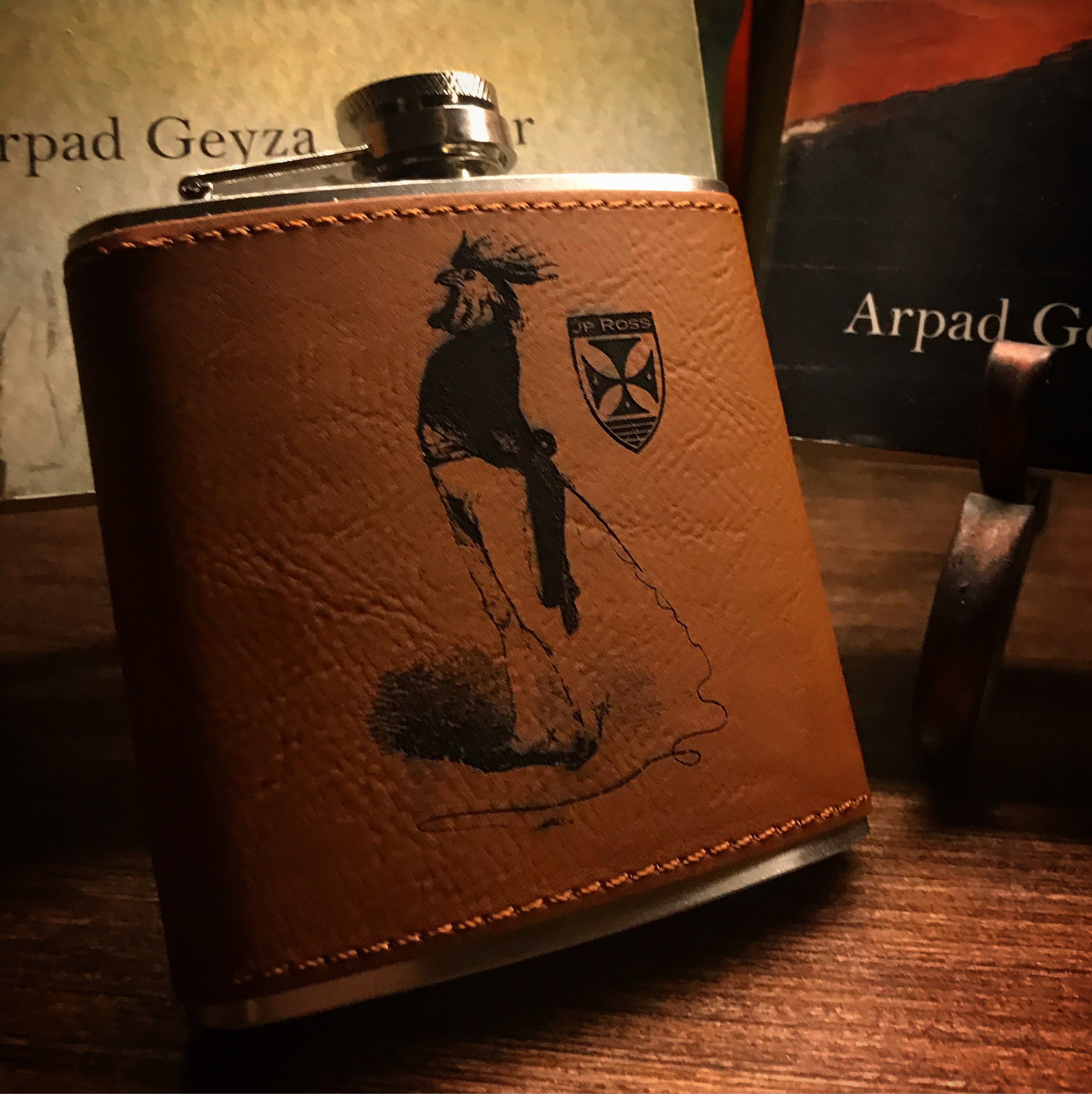 6oz stainless and leather hip flask