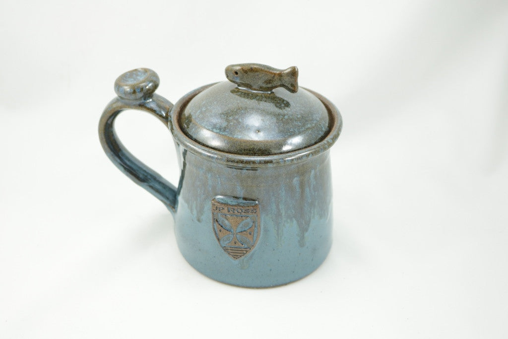 Hand made in USA Mug with trout handle lid