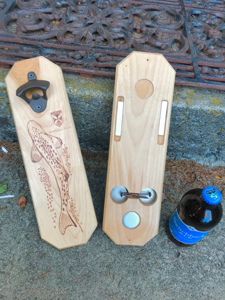 Zen Trout bottle opener on Adirondack maple made by local craftsman. by JP Ross