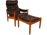 Teak/Leather Recliner & Ottoman- Norway