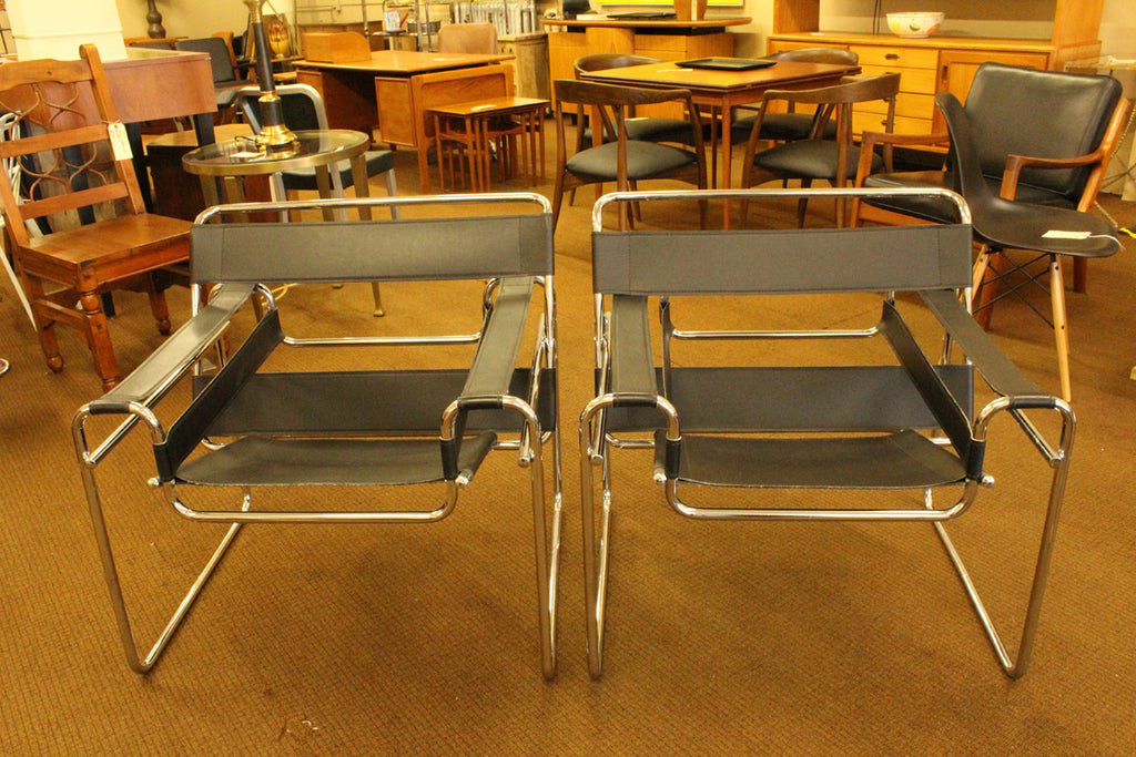 ... Black Wassily Style Chairs   A Pair ...