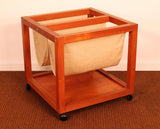 Danish Teak Rolling Magazine Caddy by Bent Silberg