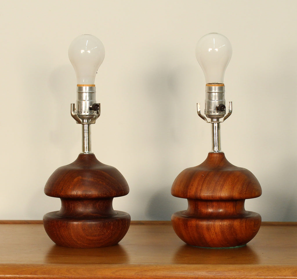 Danish modern sculptural turned rosewood table lamps a pair danish modern sculptural turned rosewood table lamps a pair geotapseo Images
