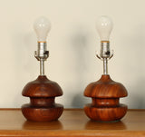 Danish Modern Sculptural Turned Rosewood Table Lamps- A Pair