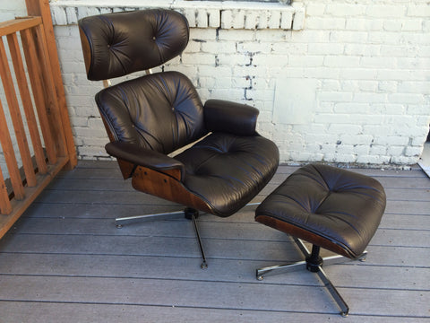 Eames Style Lounge Chair and Ottoman by Plycraft