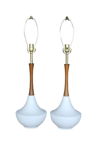 Tall Mid-Century White Ceramic & Teak Lamps - Pair