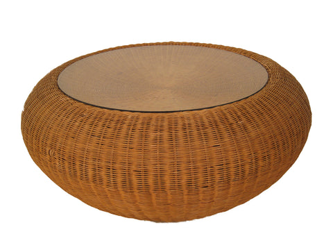 "Mid-Century Aarnio-Style 44"" Round Wicker Coffee Table"